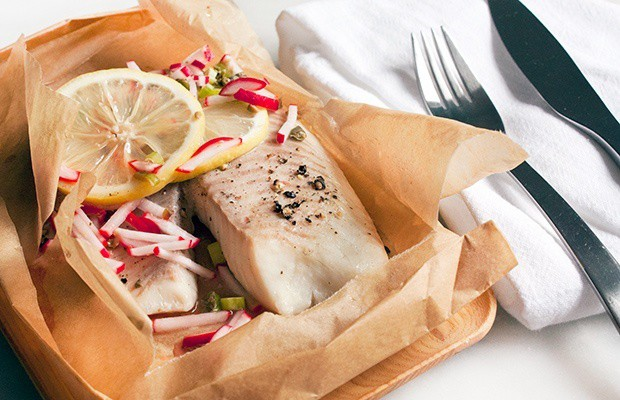Baked Tilapia with Radish Relish
