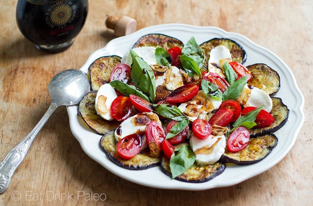 Eggplant Caprese Salad With Fried Garlic & Balsamic